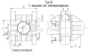 Опоры неподвижные лобовые четырехупорные Т5 серия 4.903-10 выпуск 4 тип 3